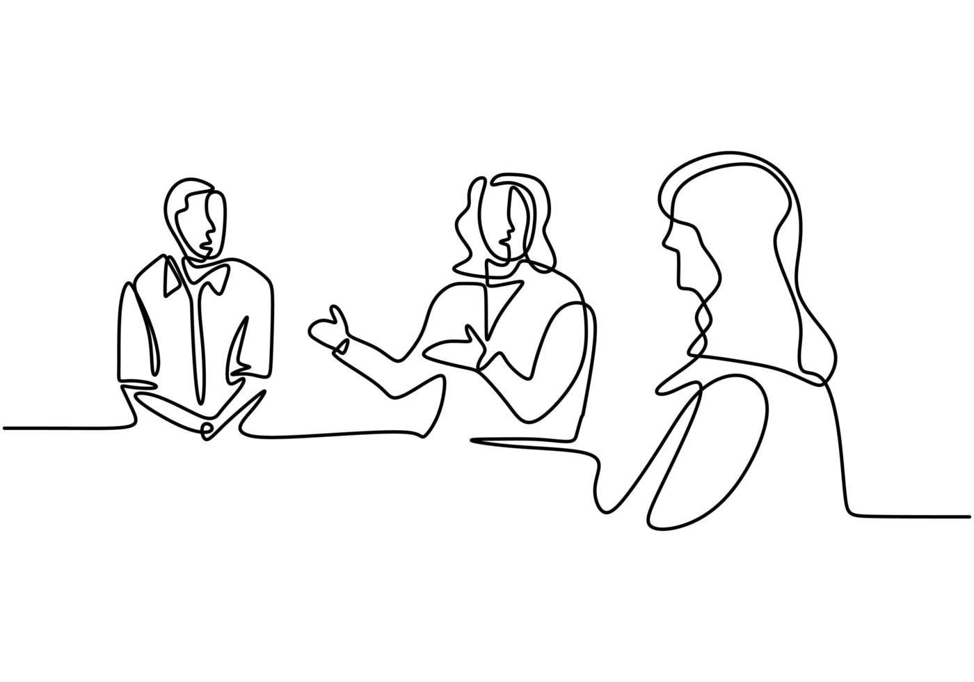 continuous-line-drawing-of-office-workers-at-business-meeting-teamwork-with-group-of-man-and-woman-v