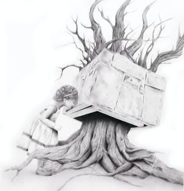 ילדה ועץ 107-96 אבקת פחם על נייר 2012.jpg