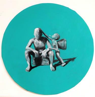 מלאכים, שמן על בד, 30 סמ קוטר, 2020.jpg
